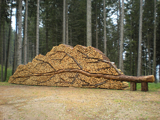 piling logs happy