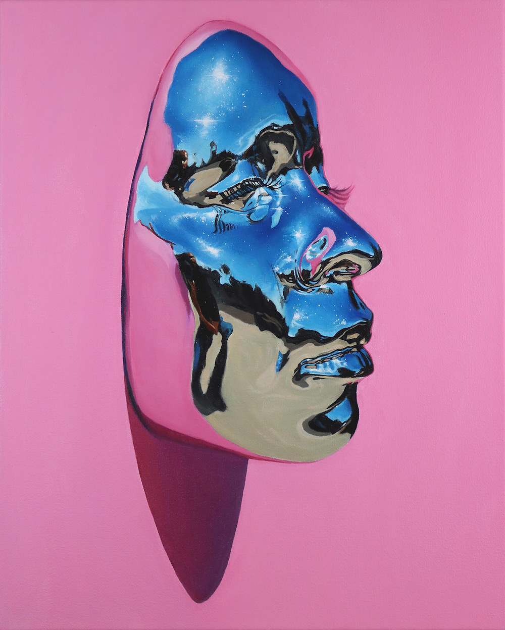 Hyperrealistic paintings of chrome masks by kip omolade