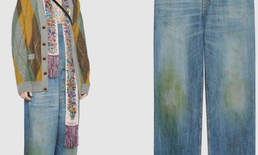 Gucci grass-stained jeans