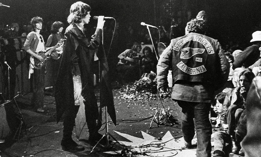 Rolling Stones during the Altamont Festival Disaster