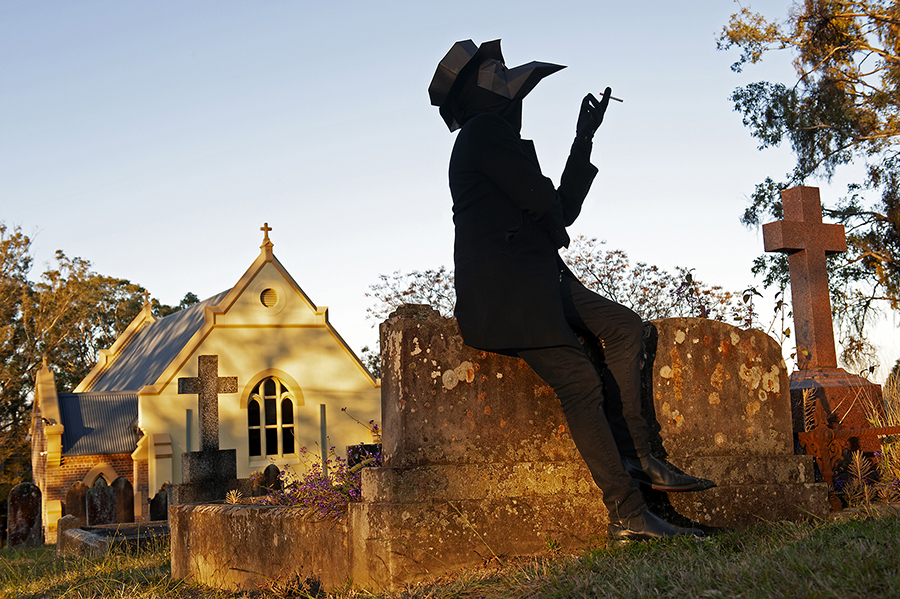Plague Doctor (Brian Waldron) photographed in the grounds of St Gregory's